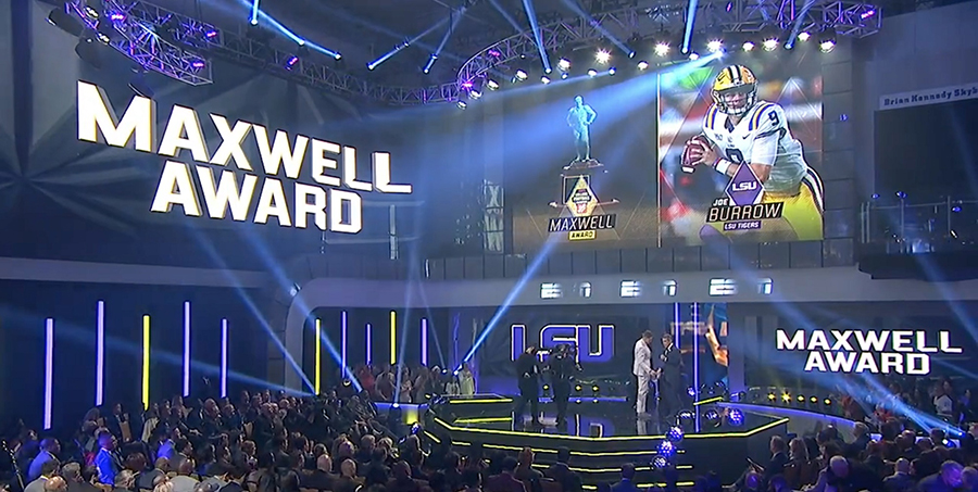 Innovative Show Design's Elation rig at 2019 College Football Awards on ESPN