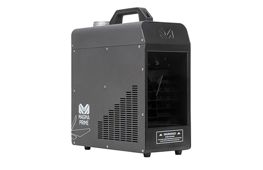 Magmatic atmospheric effects is proud to offer the first haze machine in its Magma series of dependable haze and fog machines. Now in stock and shipping is the Magma Prime™, a durable water-based hazer with advanced technology providing an exceptionally high output, dry haze effect with low fluid consumption.                         Already proving popular since its debut at the 2019 LDI show, Magma Prime is a tough, all-purpose haze effect that appeals to entry-level users and professionals alike. A large fluid intake and advanced HPA (High Pressure Air) pump technology reduce the risk of heater clogging while automatic self-cleaning and energy-saving auto shut-off (when no fluid is detected) make operation even more effortless and economical.  Thanks to its compact size and easy mobility – the unit weighs only 22.5 lbs. (10.2kg) with convenient carrying handle – Magma Prime is easy to set in a corner, position side stage, or hide in a theatrical or church setting.  Built to withstand travel and repeated use, Magma Prime features a durable aluminum housing and robust design for powerful performance that delivers on time, every time. Its thermally protected 700W heat exchanger produces a full-coverage output that is excellent for such a small unit at 4,000 cu ft/min (113 m3/min). Because the unit sips fluid at a low 3.4 ml/min, its fine haze atmosphere can enhance lighting effects for hours on end. And it does it while staying surprisingly quiet.   Magma Prime is hard to break but easy to use with an onboard LCD touchscreen control panel with manual and timer control options, intuitive DMX-512 and RDM control, and optional wired and wireless remote control options.  Magmatic Elation Professional is excited to have launched at LDI a completely new brand of inspiring and dependable atmospheric effects – Magmatic! Designed, engineered and exclusively distributed by Elation, Magmatic specialty effects are strong solutions that are on-the-road tough and made to endure. Products encompass a comprehensive range of haze and fog machines with the Magma™ and Thermatic™ series, atmospheric snow machines with the Polar™ series, and CO2 cryogenic simulation effects with the Rocket™ series. To complement all of the special effects machines, Elation has developed a complete line of specially formulated effect fluids called Atmosity™. Also available is an IP65 rated series of UV LED lighting products in the Prisma™ series.