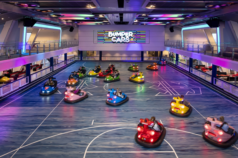 bumper cars on the Royal Caribbean's Spectrum of the Seas latest luxury cruise ship